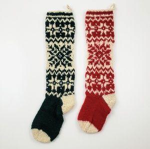 Wool Knit Far Isle Scandinavian Sweater Stockings